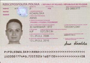 Passport Biographical Page Sample