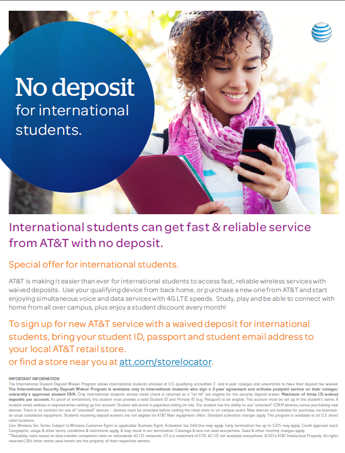 At t offers phone service to international students with - International student services office ...